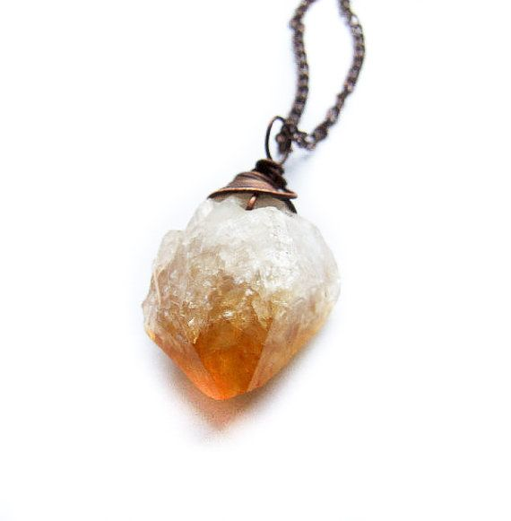 Citrine Necklace Wire Wrapped Raw Citrine Necklace by KicaBijoux