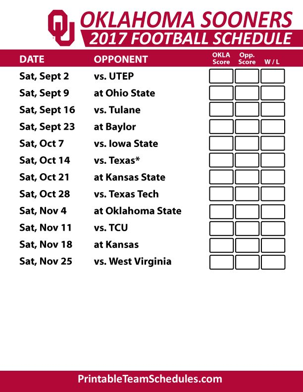 2017 Oklahoma Sooners Football Printable Schedule