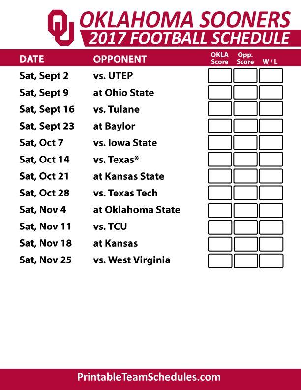 2017 Oklahoma Sooners Football Schedule