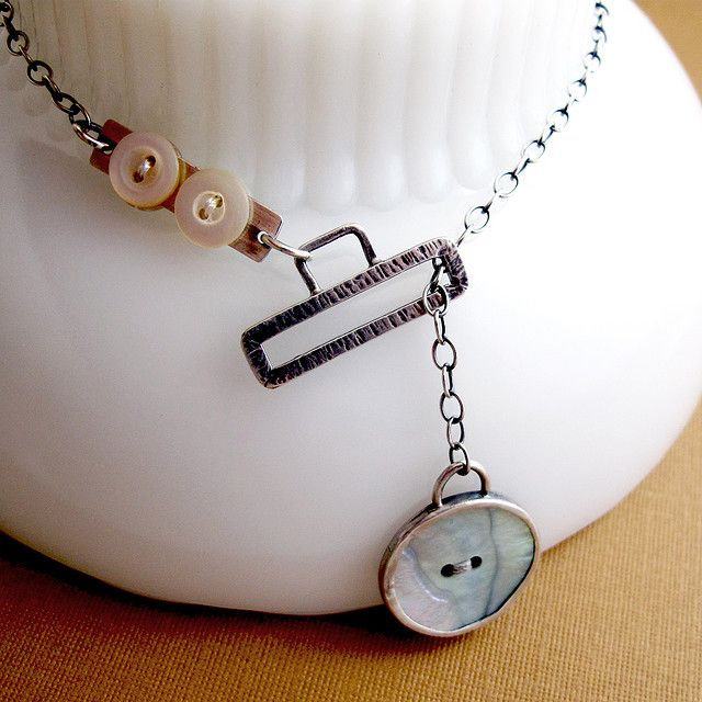 Interesting closure.  Button Hole Lariat Necklace by Nina Gibson, via Flickr