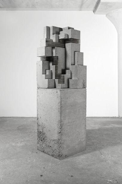 Carol Bove, 'Hysteron Proteron' (2014), Brass, concrete, 210.8 x 59.7 x 59.7 cm.
