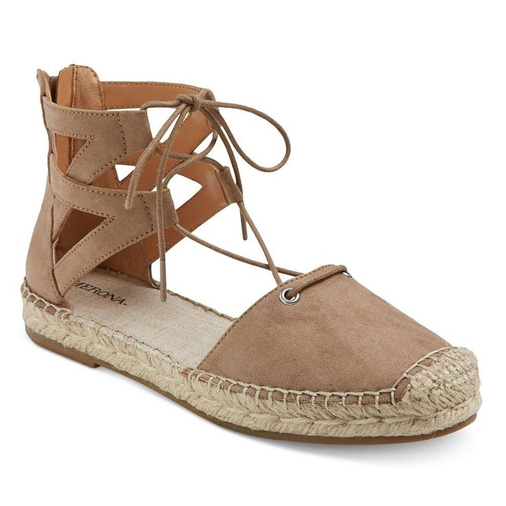 Women's Jayne Ghillie Lace Up Espadrille Ballet Flats - Taupe (Brown) 9.5