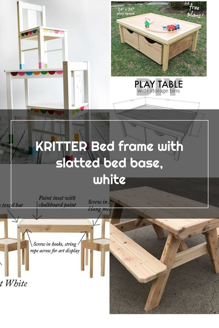 KRITTER Bed frame with slatted bed base, white in 2020