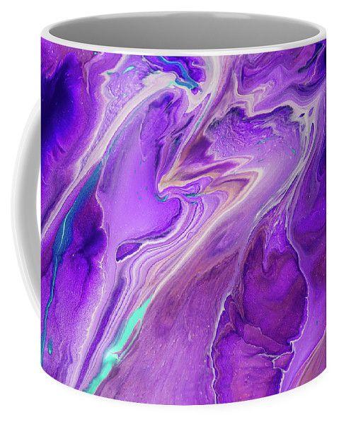 Pacific Ocean Flows. Abstract Fluid Acrylic Painting Coffee Mug by Jenny Rainbow.  Small (11 oz.)