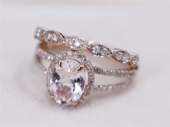 2 Rings Set - VS 7x9mm Pink Morganite Ring with Diamond Matching Band Wedding Ring Set 14K Rose Gold Morganite Ring Diamond Engagement Ring