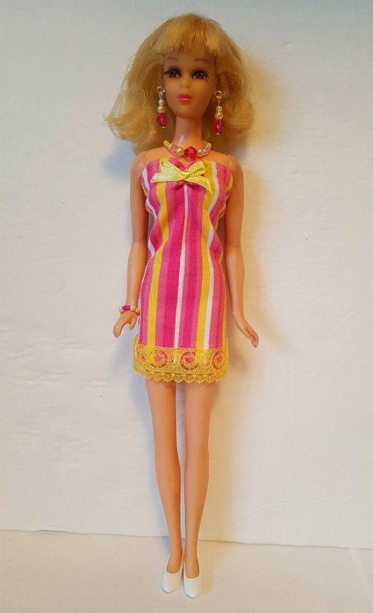 FRANCIE DOLL CLOTHES CandyStripes DRESS & JEWELRY Twiggy HM Fashion  NO DOLL d4e #DOLLS4EMMMA #Clothing