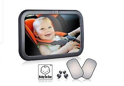Baby Car Mirror Back Seat Rear View Bonus Sun Shades Sticker Infant Safety New