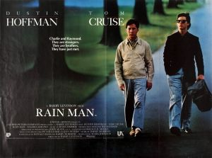 Rain Man Dustin Hoffman Tom Cruise Quad, 1988 - original vintage movie poster for the classic award winning film Rain Man - 'Charlie and Raymond. They are strangers. They are brothers. They have just met.' - directed by Barry Levinson and starring Dustin Hoffman, Tom Cruise and Valeria Golino listed on AntikBar.co.uk