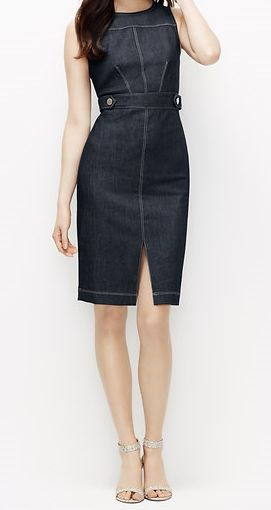 The coolest way to wear a sheath dress? Do it up in denim! I think I need this.