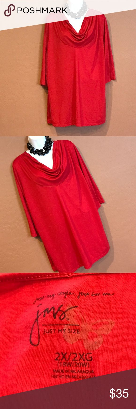 🆕WOT Just My Size Red Tunic Top Never Worn, stretch, 3/4 sleeve, loose fit. Just My Size Tops Tunics