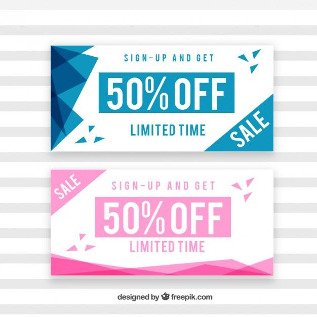 Sale coupons with abstract shapes Free Vector