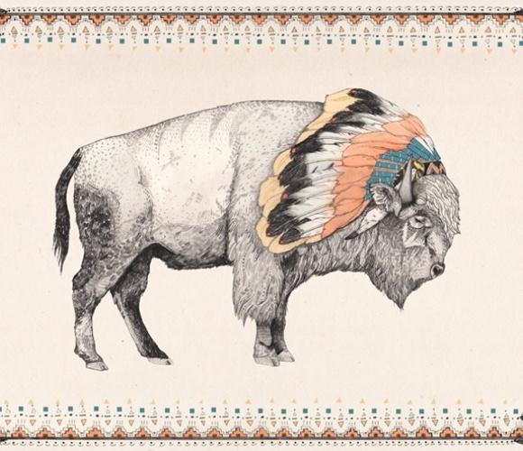Great White Buffalo Native American Headdress Tattoo: Bison Art Print