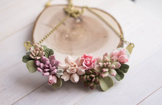Succulent jewelry. Succulent plant necklace. Botanical necklace. Statement necklace.  Original polymer clay jewelry. Flower necklace.