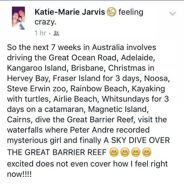 How exciting!!!! #Australia #Melbourne #greatoceanroad #adelaide #kangarooisland #brisbane #herveybay #fraserisland #noosa #steveerwinzoo #australiazoo #whitsundays #rainbowbeach #kayaking #airliebeach #magneticisland #cairns #greatbarrierreef #diving #scubadiving #skydive #waterfall by katiemarie_ox