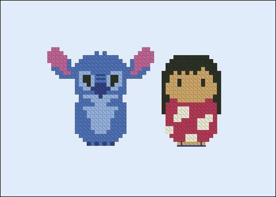 Lilo & Stitch parody Cross stitch PDF patterb por cloudsfactory