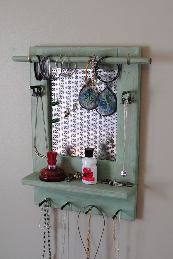 Jewelry Holder, Wall Mounted Jewelryanizer With, 6 Square Nail Necklace  And Ring Hangers