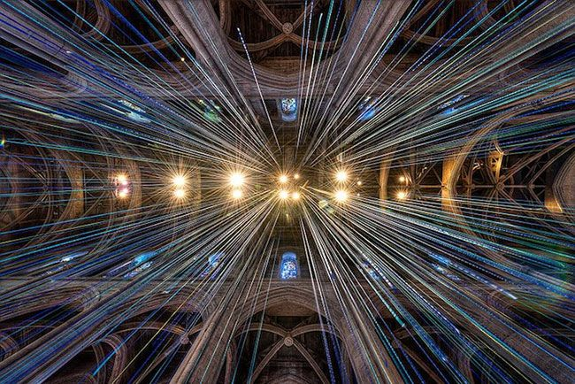 """""""Graced With Light"""", artist Anne Patterson has created a striking installation within Grace Cathedral in San Francisco."""
