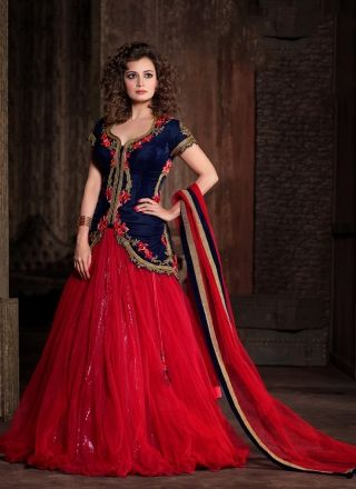 Pretty Red And Blue Velvet With Net Embroidery Work Lehenga Choli http://www.angelnx.com/