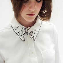 Arrival Womens Embroided Tops Mori Girl Blouses with Cute Cat White Cheap Long Sleeve Shirts with Pocket Tops Long Sleeve 2015(China (Mainland))