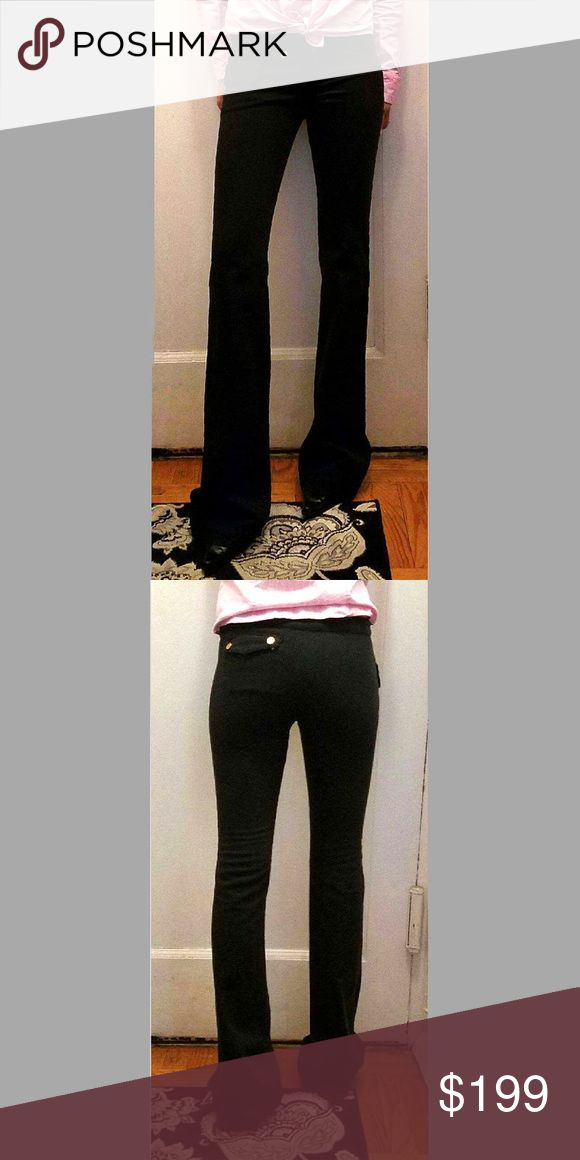 Balenciaga. Pants in black size 40 price firm!!!! Stunning very long even for me in heels &  I'm 5 10 just posed forhubby to take pict runn small  would call them small us size can be shorten to fit length  pict are accurate to what pants look like they are medium weight gold colored hardware  zip up  in from to pockets with flaps one small in the back  one pocket  on left side with snap closure  flare on bottom  43 inch length  36 inseam worn byme light sign of wear on back bottom of pant…