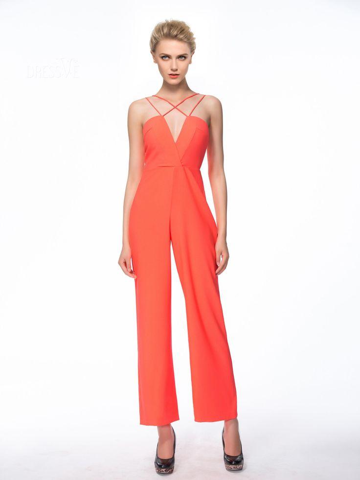 Dressve Design High-End V-Neck Spaghetti Strap Straight-leg Jumpsuit