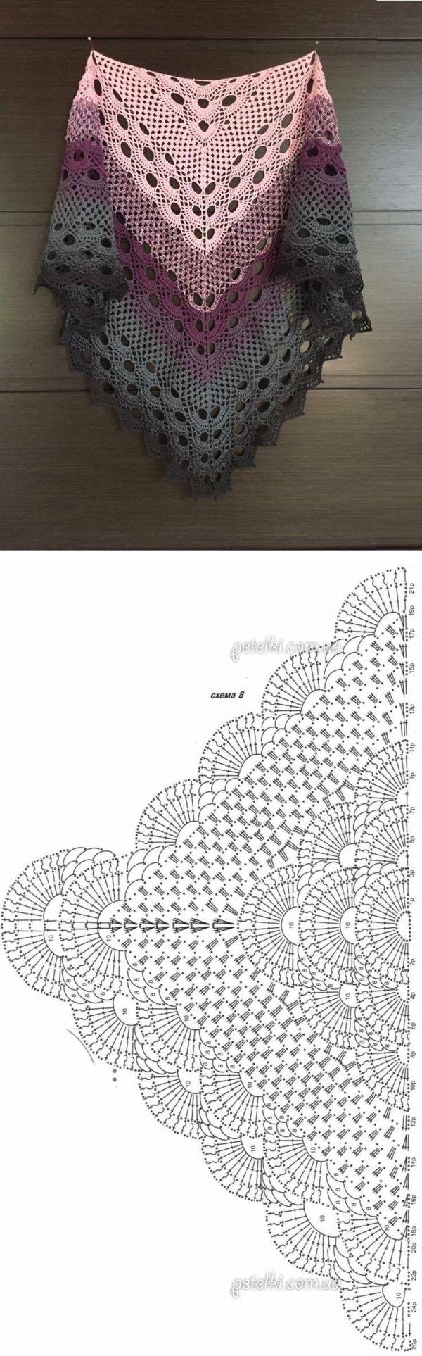 Crochet Beautiful Shawl (Sashay Yarn | chales bonitos | Pinterest ...
