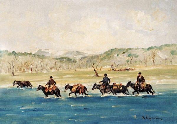 """Βάσος Γερμενής 'Άνδρες σε γαϊδούρια διασχίζουν το ποτάμι"""""""