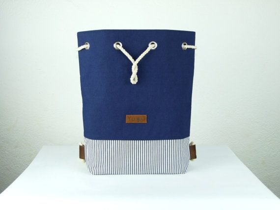 Blue striped canvas backpack canvas rucksack by robobambi on Etsy
