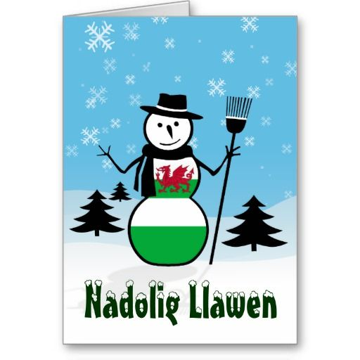 merry christmas in welsh | Nadolig Llawen Merry Christmas Wales Snowman Cards from Zazzle.com