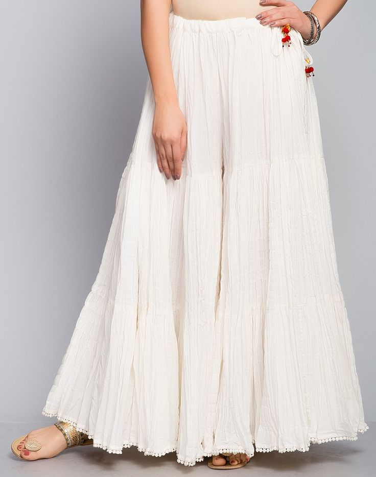 Cotton Cambric Tiered Crinkle Sharara-Natural: Buy Fabindia Cotton Cambric Tiered Crinkle Sharara-Natural Online in India. – Fabindia.com