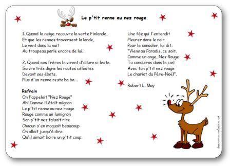 Paroles de la chanson le petit renne au nez rouge: On l'appelait Nez Rouge, Ah! Comme il était mignon, Le p'tit renne au nez rouge, Rouge comme un lumignon
