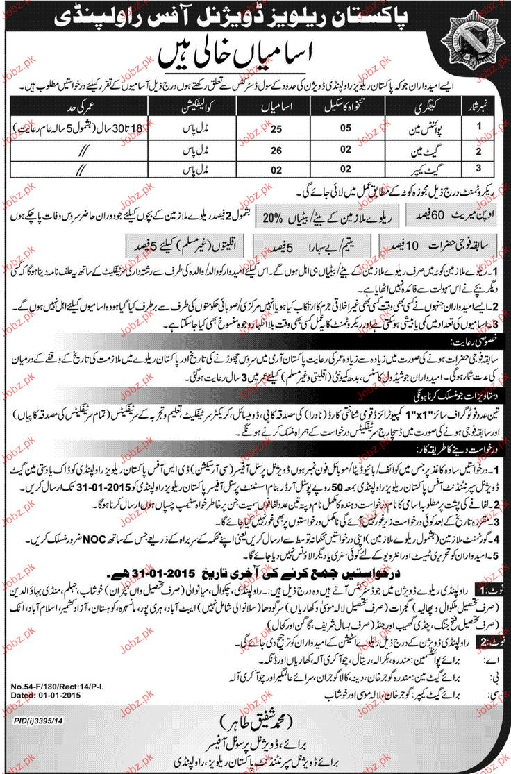 pointsman gateman job pakistan railway jobs jobz
