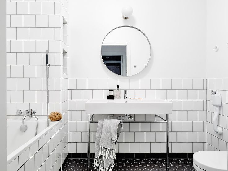 Come away with me while I dream of a lovely bathroom where I could pamper and relax; with white tiles, patterned floors and minimal accessories