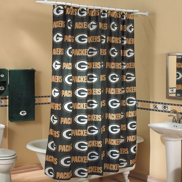green bay packers printed shower curtain