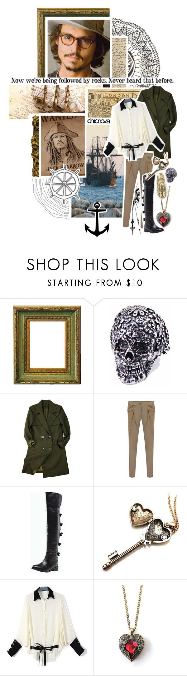 """""""Pirate CHICNOVA 17."""" by kariika ❤ liked on Polyvore featuring vintage, harem pants, anchor jewelry, boater hats, compass, pendant, pirates of caribbean, quotes, military coat and johnny depp"""