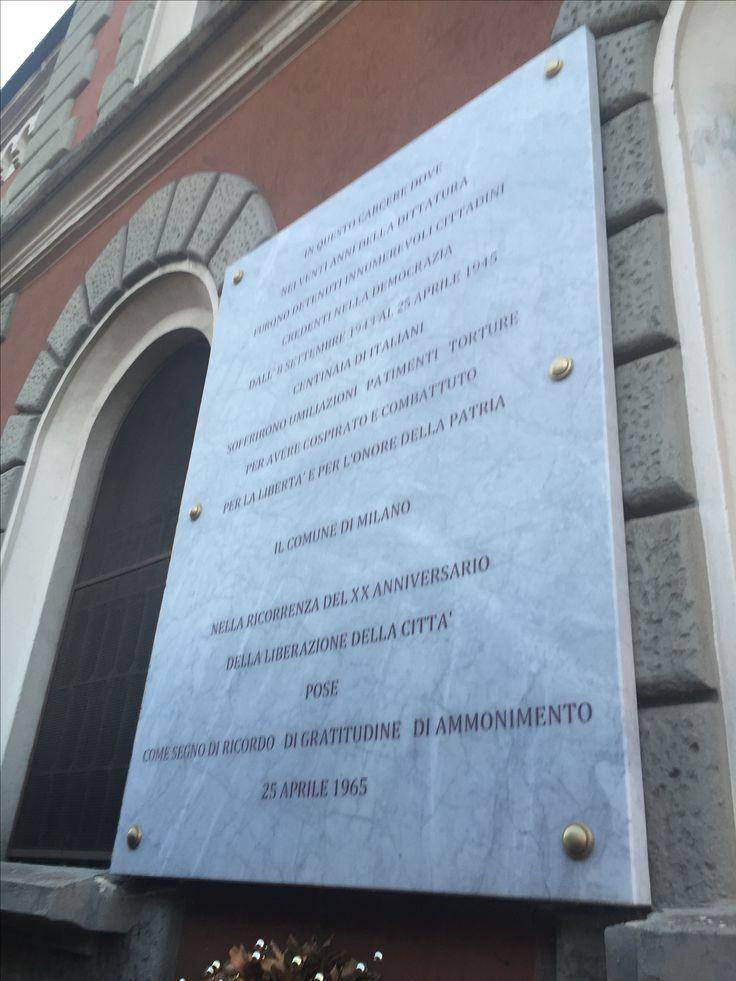 Commemorative plaque for the many victims of Nazi-Fascist oppression in San Vittore Prison