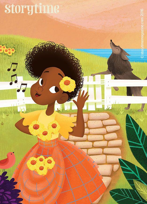 Too bad wolf - she got away! A Caribbean tale in Storytime 25. Art by Emily Monjaraz (http://estellamillbanks.com) ~ STORYTIMEMAGAZINE.COM
