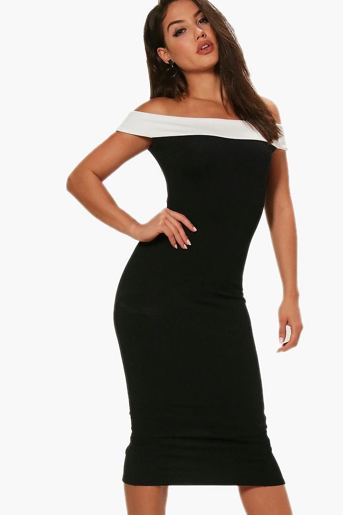 cd3e60e6df5279 Posey Contrast Off the Shoulder Midi Dress