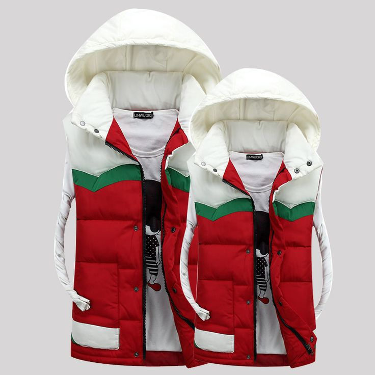 2016 New Winter Fashion Hooded Winter Vest More Color Spell Color Hooded Vest Men's  Influx of Male  Lovers  Hurry Up, Brother