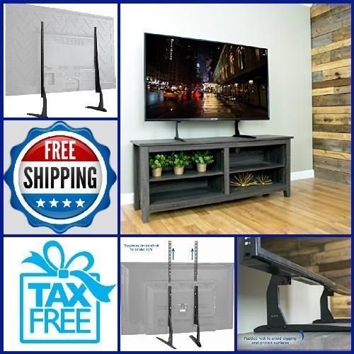 "Universal LCD Flat Screen TV Table Top-Mount Stand-Base fits 22"" to 65"" STAND-TV #VIVO"
