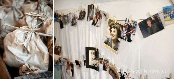 "Vintage photos strung with wooden pegs. Brown paper ""goodie"" bags. DIY Wedding reception styling, ideas and inspiration.  Reception Venue: St Paul's, Beaconsfield  Photography by DeRay & Simcoe"