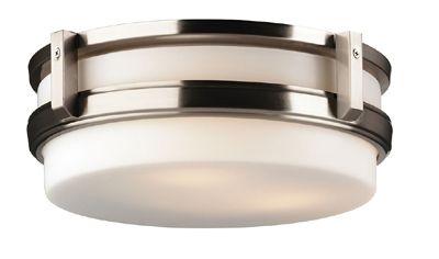 Three Light Satin Nickel Etched White Opal Glass Drum Shade Flush Mount : L107   Annapolis Lighting