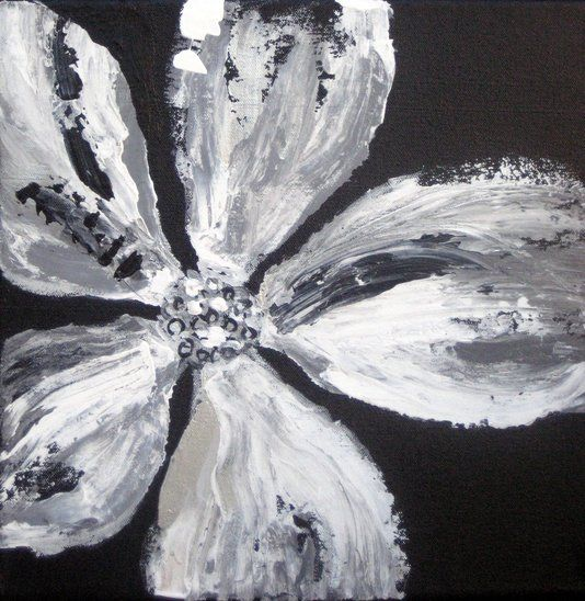 Flower painting abstract in black and white this black for Black and white acrylic painting techniques