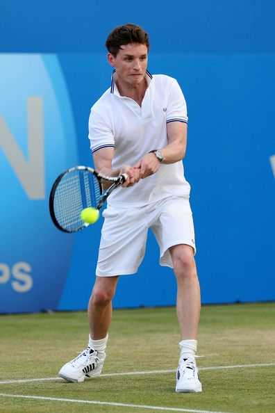 Eddie Redmayne Photos Photos - Eddie Redmayne in action during the Rally Against Cancer charity match on day seven of the AEGON Championships at Queens Club on June 16, 2013 in London, England. - AEGON Championships - Day Seven