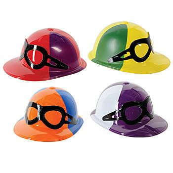These fun Plastic Jockey Helmets have the look of jockey glasses attached to the front of the hat and come in a variety of color combinations
