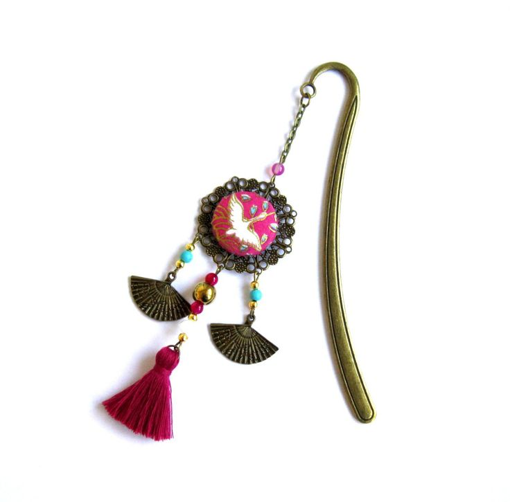 Marque-pages asiatique, ethnique, bronze et fuchsia,doré, cabochon coton japonais, éventail, pompon fait main : Marque-pages par color-life-bijoux