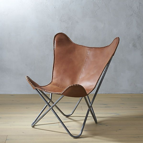 "1938 tobacco/cognac leather butterfly chair  30""W x 30""D x 34.5""H  $399  CB2"
