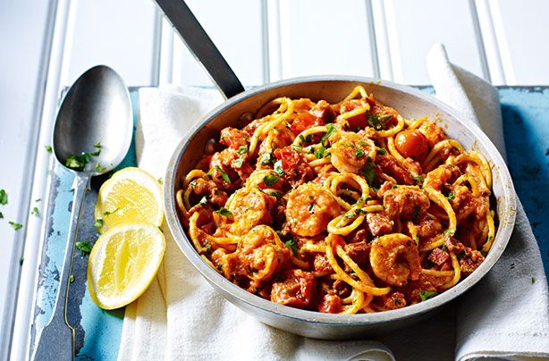 Spicy chorizo and prawn pasta - use zucchini pasta instead