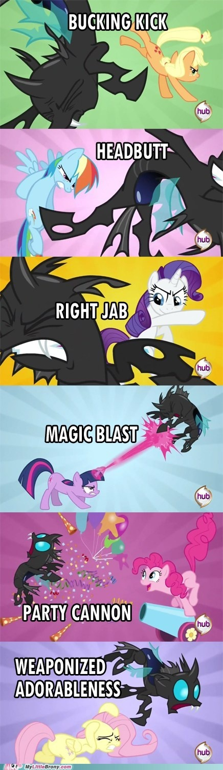 MLP Canterlot Wedding fighting techniques. Pinkie and Fluttershy are the best.