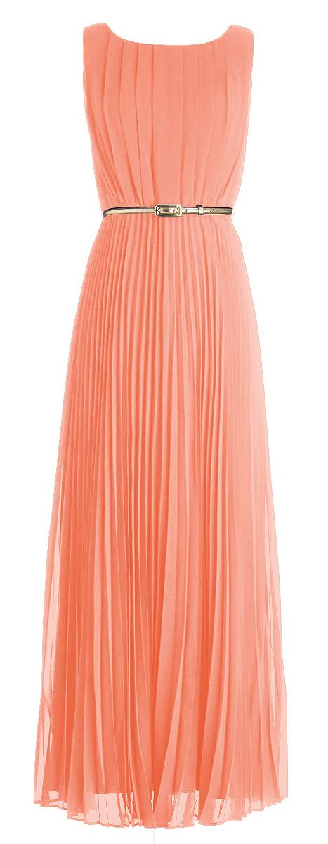 Peachy pleated maxi